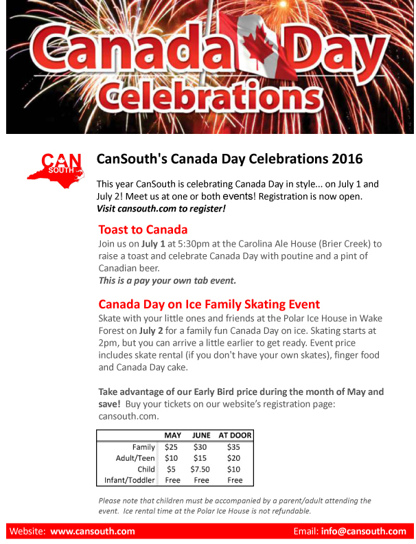 Canada Day Celebrations 2016 flyer