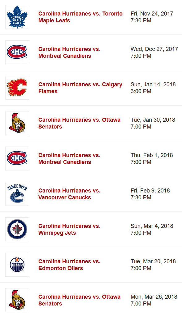 2017-18 CDN Teams VS Canes