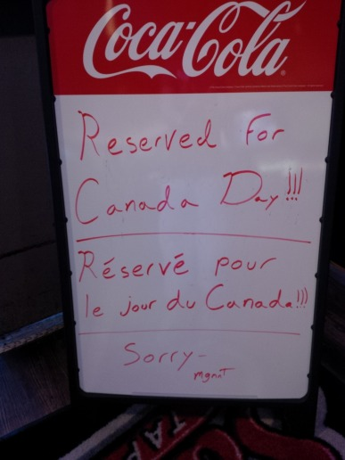 Sammy's very Canadian bilingual sign! :)